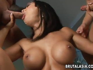 Curvy Asian dark raven has a pair of dicks to pleasure