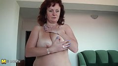 Busty amateur old mom getting wet on her bed