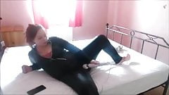 Cumming on a wand wearing PVC LATEX CATSUIT