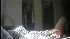 Mummy masturbating on bed. Hidden cam