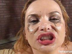 Katja Kassin gets a facial from a big black cock