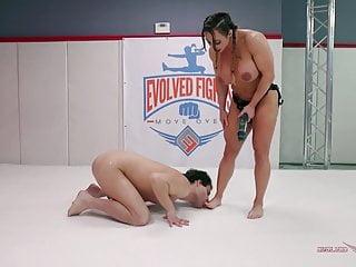 Powerful Brandi Mae takes on novice wrestler Marcello