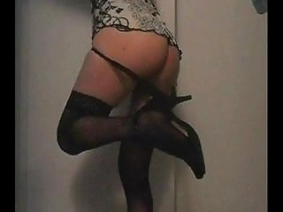 Preview 6 of white tranny teases BBC with high heels...