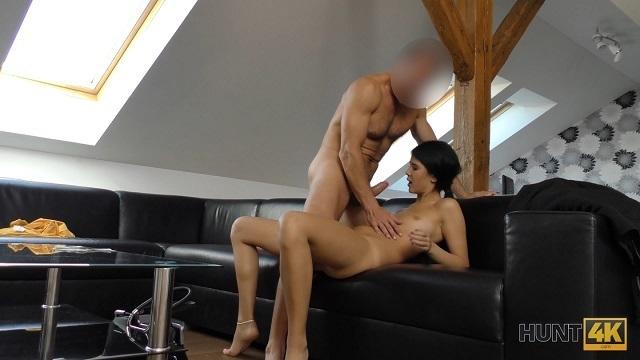 HUNT4K. Slender brunette and her skinny BF want money