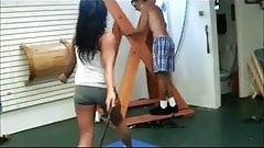 Sadistic girl whips him hard