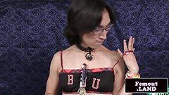 Kinky spex femboy in heels toys her ass