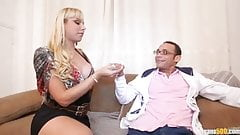 Hot white shemale takes huge cock