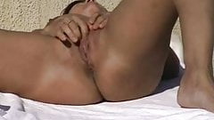 Amateur couple masturbation and fuck on terrace
