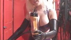 Latex mistress edging milking machine
