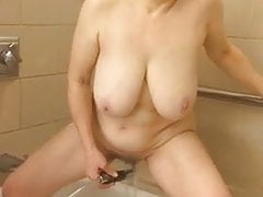 60+ Big Tits Mom Shower Masturbation by MarieRocks