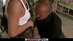 Dad licks and fucks son's GF