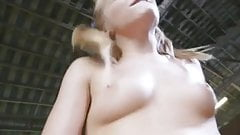 Blond with pigtails and pubic hair is horny as hell
