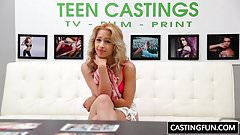 Banging sweet teen Goldie at casting