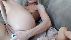 Amazing blonde hottie plays with her holes with toys