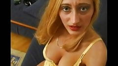 German hot blonde giving footjob 1