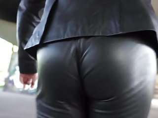 Sexy Ass in Tight Leather Pants Walking