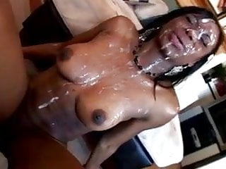 Bukkae #7 Ebony Babe covered in Vanilla Cum