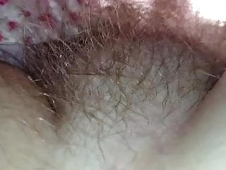 close up of her soft chubby hairy mound.