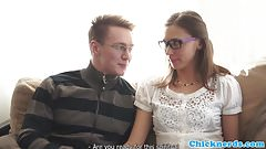 Nerdy spex eurobabe banged by her professor