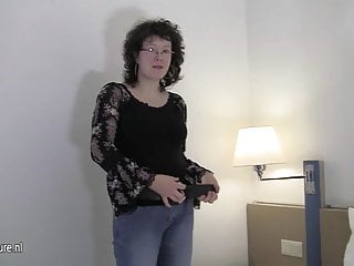 Natural amateur mother playing with her wet pussy