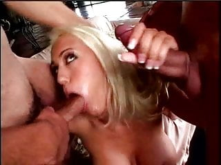 Pretty busty blonde gets DP'ed and takes two hot loads in this threesome