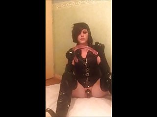 Preview 1 of SeleneTV - Goth sissy in chastity deepthroat 45cm dildo - 2