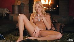 Amazing blonde by the fire