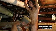 Slender gay with monster cock feeds it to inked hunk