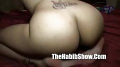 Mature tatted redbone pulling that nut