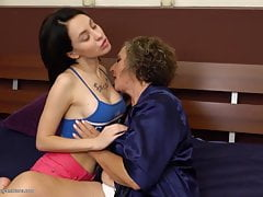 Granny at lesbian sex with busty girl