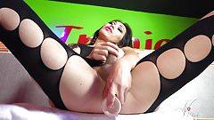 Amazing body tranny Nina StrongHold in a body stocking!