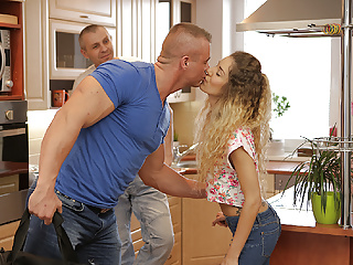 DADDY4K. Curly-haired babe and mature man try old and young