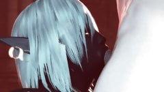 Queen Nualia Blue Skin 3D Hentai Blowjob & Deep Throat