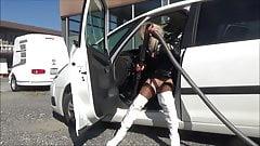 latex fetish chastised sissy clean her car