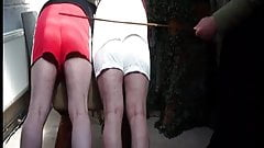 Double trouble two bad boys spanking.  Spank beating cane
