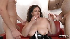 Amateur BBW french mom hard analyzed and fisted in 3way