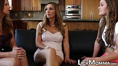 Gorgeous Abby Cross swallows pussy in stepmom threeway