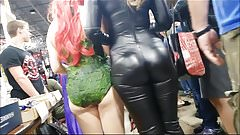 LATINA IN TIGHT LEATHER CAT SUIT VTL