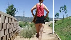Micro skirt no panties in public park p.2