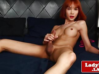 Preview 3 of Redhead ladyboy beauty solo pulling hard cock