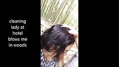 cheating latina eats cum on lunch break in woods
