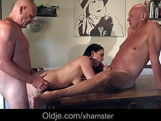 Download video bokep Young babe flirting and fucking two old guys in the kitchen  Mp4 terbaru
