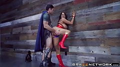 Busty Wonder Woman takes a diamond hard cock inside her