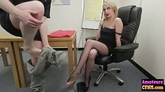 Naughty sexy blonde sucks femdom cock