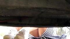Voyeur Girl clean car upskirt