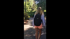 Candid - Tight ass blonde bimbo shows off on campus