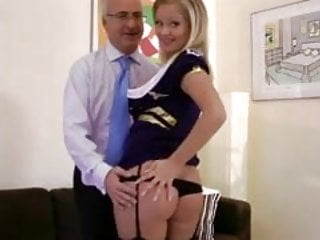 Hot blonde babe with mouthful of cock with lucky old guy