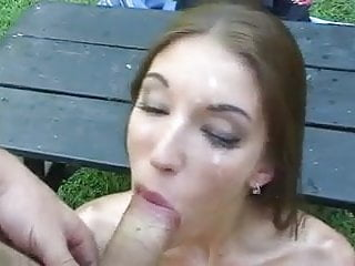 Cum in Eye after Double Blowjob for Cutie