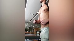 Slow motion Fitness bulge -  Treadmill Penis workout