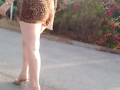 MILF in very short dress spying